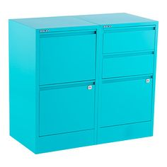 Aqua Bisley 2- & 3- Drawer File Cabinets - these are smaller.