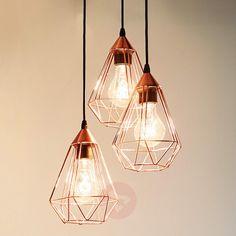 Koper-glanzende hanglamp Tarbes 3-lichts-3031863-01