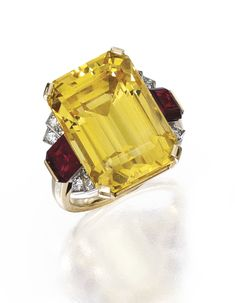 Gold, Yellow Sapphire, Diamond and Ruby Ring, Raymond Yard