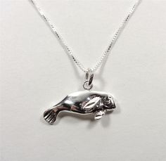 STERLING SILVER NAUTICAL SWIMMING FLORIDA MANATEE  SEA LIFE PENDANT NECKLACE #Pendant