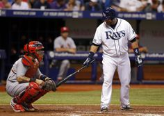 Jose Molina taps Yadi's shin pads, Cards v Rays, St Louis Baseball, St Louis Cardinals Baseball, Cardinals Game, Yadier Molina, Baseball Quotes, Baseball Cards, Thing 1, Buster Posey, Tampa Bay Rays