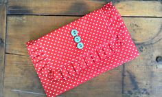 Red and Aqua Ruffled Clutch by Proverbs31Karen on Etsy, $30.00