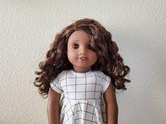 White with Black Windowpane Knit Skater Dress for 18 inch Glam Doll, Girl Inspiration, Skater Dress, Girl Dolls, American Girl, All Things, High Neck Dress, Knitting, Handmade
