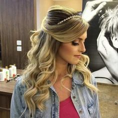 Half Up Half Down Hairstyle with Side Bangs