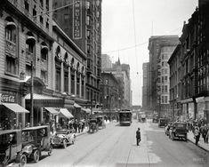 "Chicago ca. 1910. ""Madison Street, Hotel Brevoort & La Salle Opera House.""  8x10 glass negative."