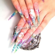 """longStained glass! 板橋区ロングスカルプチュア専門 Queen of nail 080(4887)9996 ラインID→summerleaf #池袋nail #池袋ネイル #art #渋谷nail #gel #Stilett #tolepaint #paintart #Acrylic"" Photo taken by @queenofnail on Instagram, pinned via the InstaPin iOS App! http://www.instapinapp.com (07/18/2015)"