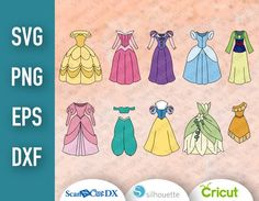 Princess Outfits, Baby Princess, Silhouette, Printable Designs, Dress Cuts, High Definition, Zip, Digital, Paper