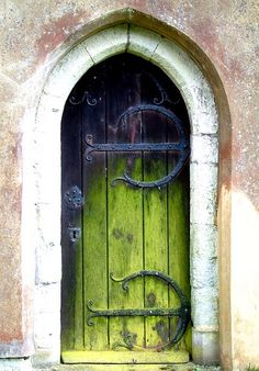 .curved hinges blue fading to green paint. lovely