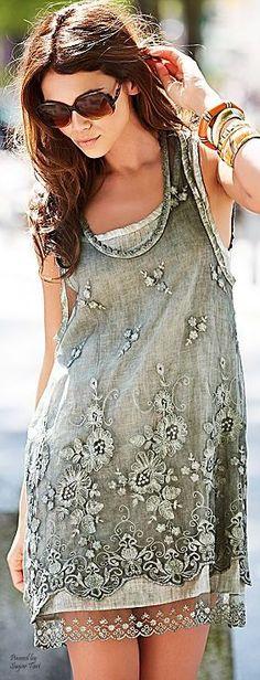 Boho lace dress.