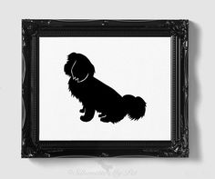 Shih Tzu Silhouette - Hand-cut Original Dog Art - Personalization, Multiple Colors and Backgrounds Available