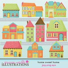 Home Sweet Home Cute Digital Clipart for Card Design, Scrapbooking, and Web Design