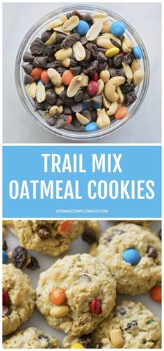 These loaded trail mix oatmeal cookies are sweet, salty and chewy. Grab your favorite trail mix and make these irresistible cookies ASAP! #trailmixoatmealcookies #oatmealcookies #trailmixcookies #cookies