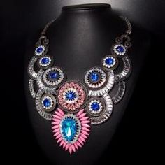 Round Crystal Chunky Statement Necklace