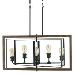 Home Decorators Collection Palermo Grove Collection 5-Light Black Gilded Iron Linear Chandelier