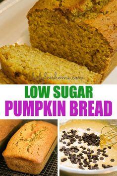 Less Sugar Pumpkin Bread Recipe - - Easy to make low sugar pumpkin bread. It's moist and flavorful, using fresh pumpkin puree, less sugar, and delicious fall spices. Fresh Pumpkin Recipes, Healthy Pumpkin Bread, Pumpkin Loaf, Homemade Pumpkin Puree, Pumpkin Spice Muffins, Sugar Pumpkin, Pureed Food Recipes, Pumpkin Dessert, Dessert Recipes