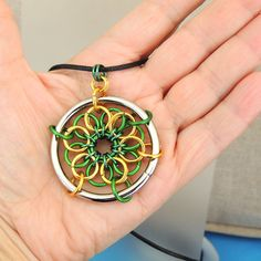 Big Bold Chainmaille Green and Gold Pendant Leather Cord by Lehane, $24.95