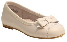 L'Amour Girls C-520 White Bow Dress Flats
