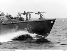 28 June A P. boat patrol out from Brunei Bay on a twenty-two hour patrol during Allied invasion operations. These boats are capable of high speed. 82 was - BFD Countries Around The World, Around The Worlds, Mtb, Brown Water Navy, E Boat, British Armed Forces, Us Navy Ships, Floating In Water, Water Toys