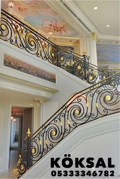 This staircase looks like it belongs in a fairy tale castle! Click the photo to view the rest of this insanely beautiful Chicago home. Interior Stair Railing, Modern Stair Railing, Wrought Iron Stair Railing, Balcony Railing Design, Staircase Railings, Modern Staircase, Staircase Design, Staircases, Iron Balcony