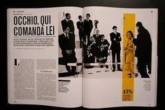 Il Magazine Apertura de nota (ver pin siguiente) Imágenes blanco y negro / Uso del color para relacionar destacados e imagen / Diagramación