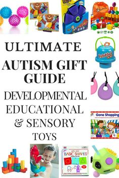 Looking for toys for your toddler or school aged kid with autism, sensory processing disorder or other special need? This gift guide is full of ideas! Whether you're looking for developmental toys to increase fine and gross motor skills, hand-eye coordination, social skills and language development or you need the best sensory toys for autism, this collection of fun learning toys, games, and fidgets are worth the investment! #autismtoys #autism #ASD #SPD #specialneeds