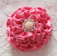Handmade Ribbon Flower With Rhinestone  3 inches In by Mydesign63