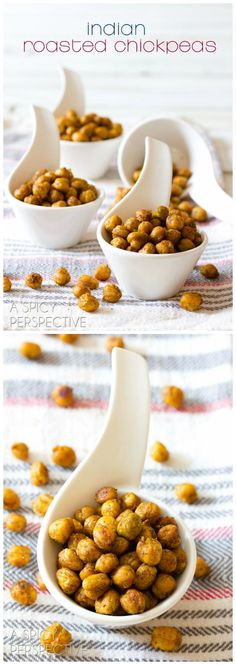 Indian Spiced Roasted Chickpeas on ASpicyPerspective.com #healthy #snacks
