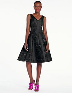 Kate Spade New York Jacquard Fit and Flare Sleeveless Classic Black Dress