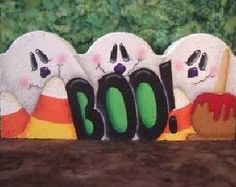 Painted Pavers Decorative Painting Packet 8002 BOO Paver by OilCreekOriginals, Painted Bricks Crafts, Brick Crafts, Painted Pavers, Stone Crafts, Painted Rocks, Concrete Projects, Outdoor Projects, Wood Crafts, Diy Projects