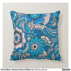 Home Decor Decorative & Throw Pillows Blue Throw Pillows, Floral Pillows, Decorative Throw Pillows, Pillow Cover Design, Pillow Covers, Designer Throw Pillows, Custom Pillows, Floral Prints, Pattern