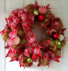 Special Listing: Lime Green and Red Check Christmas Deco Mesh Wreath with a beautiful Red & White Swirls Christmas Tree or Wreath Bow on Etsy, $65.00