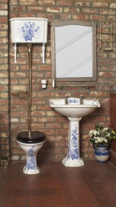 Imperial Oxford Blue High Level Suite. blue and white porcelain antique toilet and sink. My mother would like this.