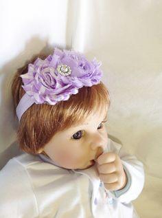 lavender chevron baby headband, wedding headband, special occasion headband, shabby chic, rhinestone center, rosette, hairpiece, photo prop
