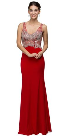V-Neck Fit and Flare Prom Gown Red #discountdressshop #promgown #redgown #prom #prom2k17 #vneckgown