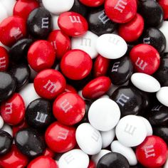 Bowling Party : Red, Black & White M&M's Chocolate Candy