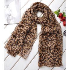 Stylish Fashion Style Leopard Pattern Chiffon Silk Scarf For Women