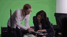 Caitriona with Jodie Foster on the set of Money Monster.