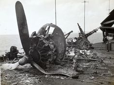 Remains of kamikaze attack on the U.S.S. Bunker Hill, 11 May 1945.