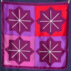 "Vtg 50s Signed Vera Neumann Silk Rayon Scarf 27"" Square Handrolled Geometric NWT"