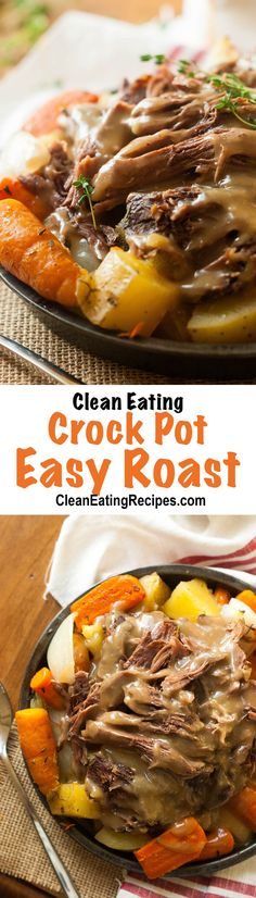 This crock pot roast is so easy and turned out so good! I'm pinning this so I can make it all the time. #cleaneatingrecipes #cleaneating #crockpotrecipes