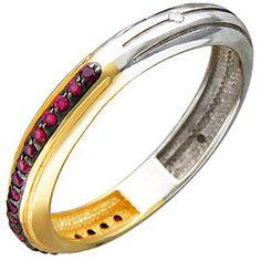 Кольцо с гранатами, фианитами из комбинированного золота | Каталог товаров по сниженной цене.