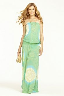 Calypso - fabulous strapless smocked maxi in a hot summer color and print. Perfect with flat, strappy sandals