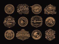 Vintage logo collection by widakk Logos Vintage, Retro Logos, Vintage Typography, Typography Logo, Vintage Designs, Types Of Lettering, Lettering Design, Hand Lettering, Business Fonts