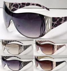 New Womens Shield Designer Animal Print Leopard Zebra Sunglasses Fashion Shades | eBay
