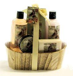 Opaline Sweet Strawberry Bath Spa Gift Set - Shower Gel, Body Lotion, Body Scrub, Soap and Bath Salt in a Wooden Gift Basket