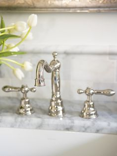 The bathroom faucet is by Rohl LM Polished Nickel). The bathroom faucet is by Rohl LM Polished Nickel). Master Bath Remodel, Master Bathroom, Master Baths, Tub Remodel, Downstairs Bathroom, Plumbing Fixtures, Bathroom Fixtures, Bathroom Inspiration, Interior Design Inspiration