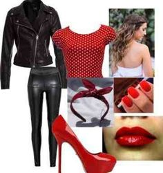 White  or black shirt, red leather jacket, leggings and red keds or black vans