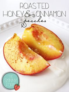 Roasted Honey Cinnamon Peaches — A de{light}ful breakfast or dessert for only 158 calories! Clean and lean!