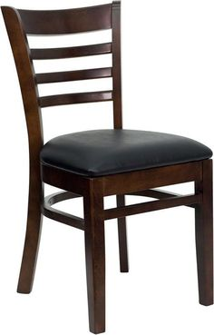 HERCULES Series Walnut Finished Ladder Back Wooden Restaurant Chair with Black Vinyl Seat XU-DGW0005LAD-WAL-BLKV-GG by Flash Furniture