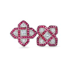 Ruby and diamond stud earrings from the Kwiat Vintage Collection in 18K white gold